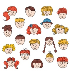 hildren faces vector image vector image