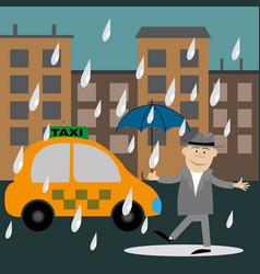 people walking in the rain vector image vector image