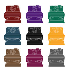 retro photocamera icon in black style isolated on vector image vector image