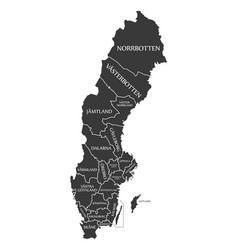 sweden map labelled black vector image vector image