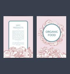 handdrawn fruits and vegetables vegan vector image