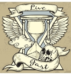 Hourglass and Skull tattoo design vector image vector image