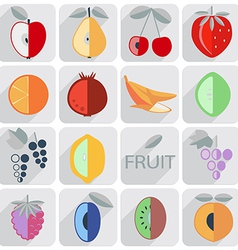 set of icons fruit flat style vector image vector image