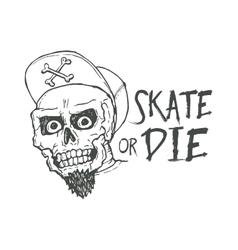 Skate or die lettering tattoo design Skater scull vector image