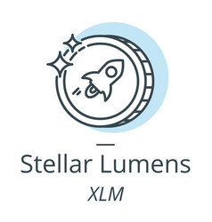 stellar lumens cryptocurrency coin line icon of vector image