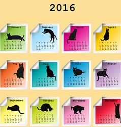 2016 Calendar with black cats silhouettes vector image vector image