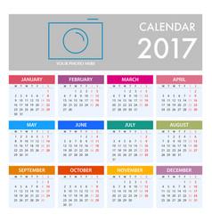 calendar for 2017 on white background week starts vector image