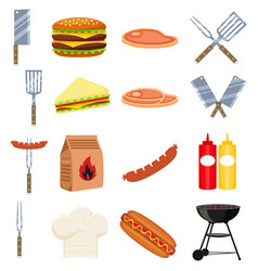 colorful cartoon bbq outdoors 16 element set vector image vector image