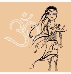 Little indian girl hand drawn vector