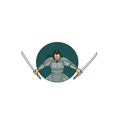 samurai warrior wielding two swords oval drawing vector image