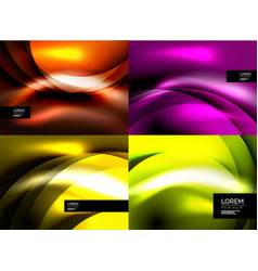 set of shiny silk wave abstract backgrounds vector image