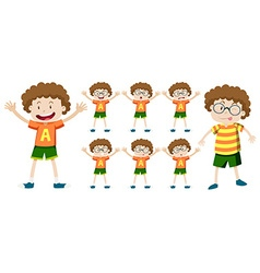Boy with curly hair in different expressions vector image vector image