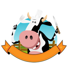 cartoon cow banner vector image vector image