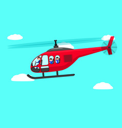cartoon helicopter people flying sky vector image vector image