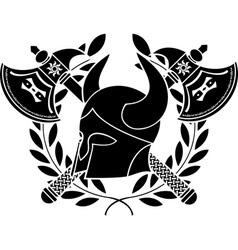 fantasy barbarian helmet with axes vector image vector image