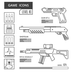Game icons weapon vector image vector image