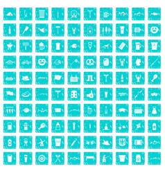 100 beer icons set grunge blue vector