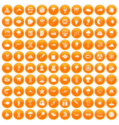 100 research icons set orange vector