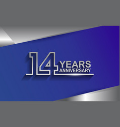 14 years anniversary silver color line style vector