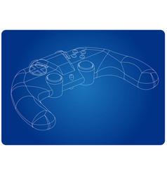 3d model of joystick on a blue vector image