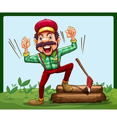 A happy lumberjack stepping on log with axe vector