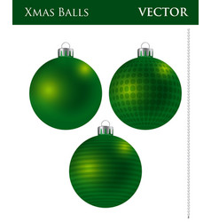 A set of dark green christmas balls vector
