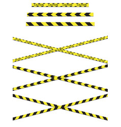A variety yellow caution tapes in format vector