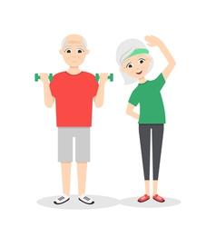 Active happy and healthy senior couple cartoon man vector
