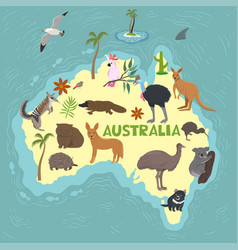 australia and australian animals inscription vector image