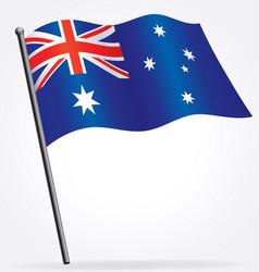 Australian flag waving on flagpole vector