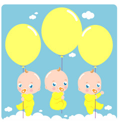 Baby triplets with balloons vector
