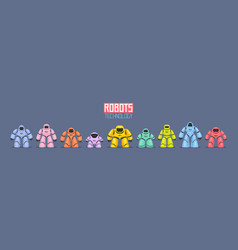 background of colorful different robots vector image