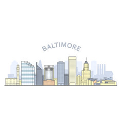 Baltimore cityscape maryland - city panorama of vector