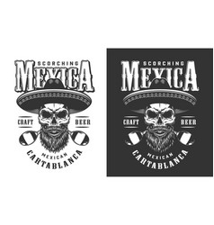 Bearded and mustached mexican skull emblem vector