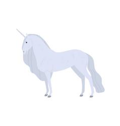 beautiful fantasy white unicorn flat vector image