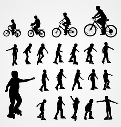 Big set silhouette of roller skating and bicyclist vector image