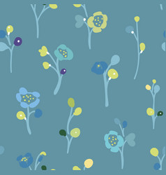 Blue pattern with small florals vector