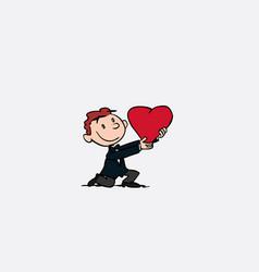 Boyfriend holds a huge heart kneeling vector