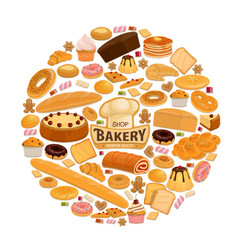 bread and pastry sweets for bakery shop vector image