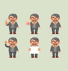 Businessman different actions man mustache geek vector