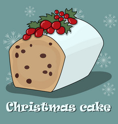 Card with christmas cake on a blue background vector