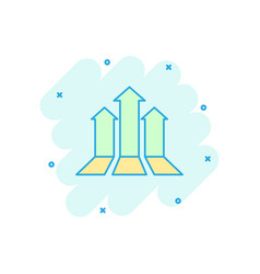 cartoon arrow growing graph icon in comic style vector image