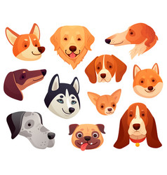Cartoon dog head funny puppy pet muzzle smiling vector