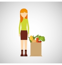 cartoon girl blonde grocery bag vegetables vector image