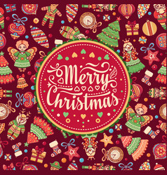 christmas greeting postcard colorful vector image
