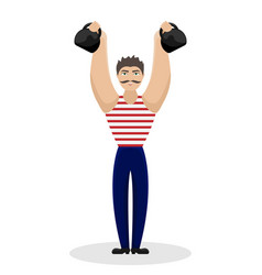 Circus strong man with weights in his hands vector