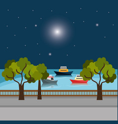 City dock with boats scene vector