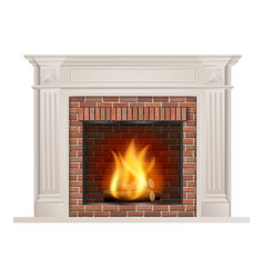 classic fireplace with red brick and furnace vector image