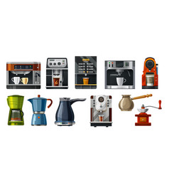 coffee maker machines cafe barista brewing tools vector image