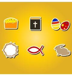 color icons with easter symbols vector image